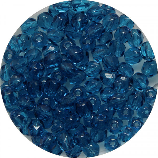 Glasschliffperlen, feuerpoliert, 4 mm, transp. capriblau