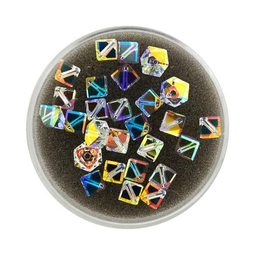 Swarovski Würfel, diagonal gestochen, 4mm,3St.,crystal AB