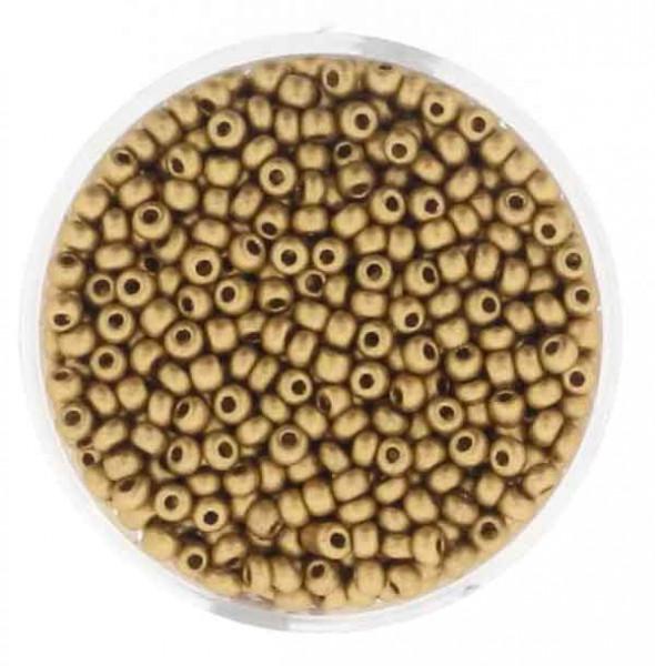 Rocailles, metallic-matt, 2,6mm, 17gr. Dose, goldfb.