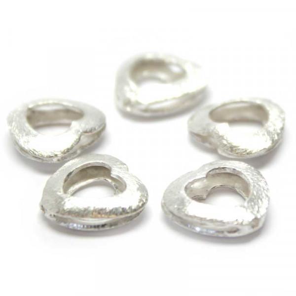 Wisilva Perlen, Herz-Rahmen, versilbert, gebürstet, 5 Stück