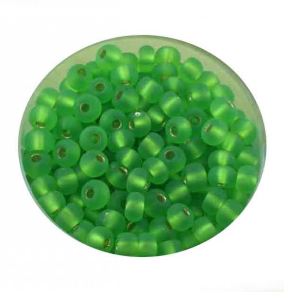 Rocailles, silbereinzug matt, 4,5mm, 17gr. Dose, m.grün