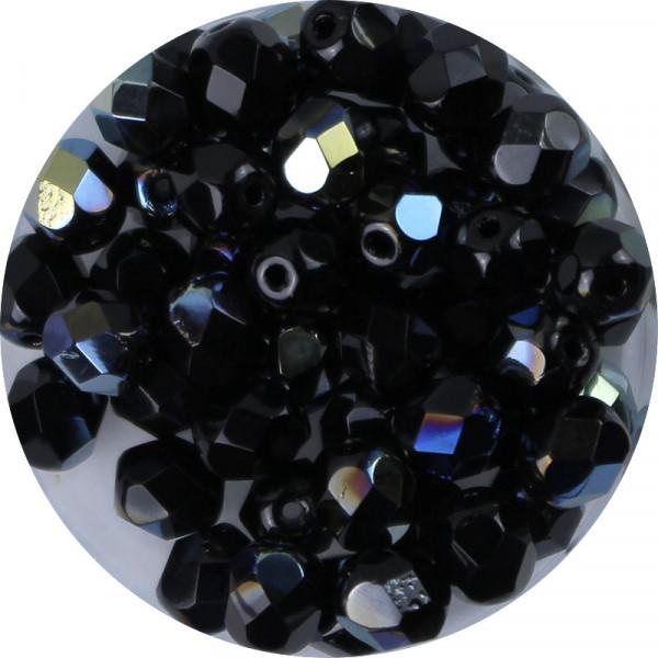 Glasschliffperlen, feuerpoliert, 6 mm, h. bedampft, schwarz AB