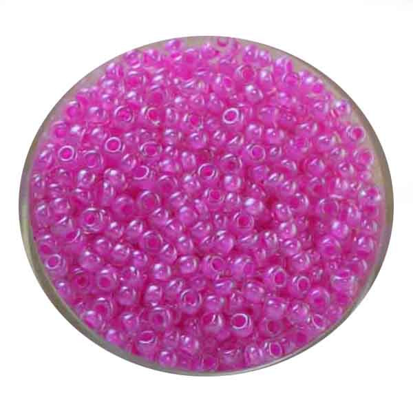 Rocailles, Farbeinzug glänzend, 2,6mm, 17gr. Dose, rosa