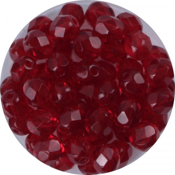 Glasschliffperlen, feuerpoliert, 6 mm, transparent rubin