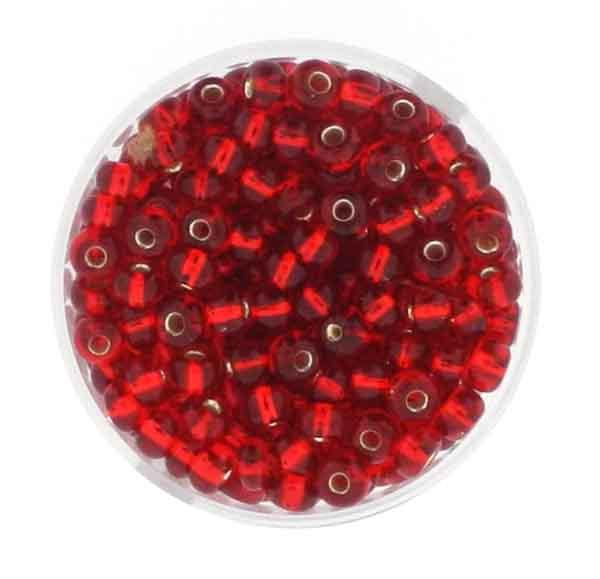 Rocailles, silbereinzug, 4,5mm, 17gr. Dose, rot