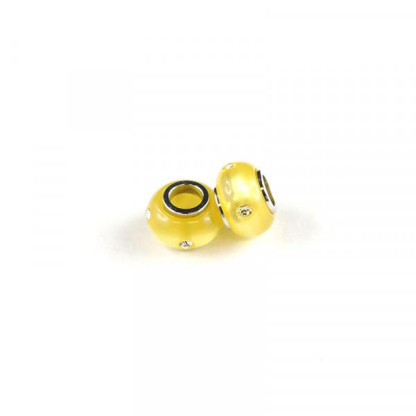 Polaris Großlochperlen Strass glänzend, 8x12mm, gelb