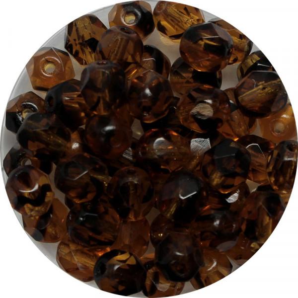 Glasschliffperlen, feuerpoliert, 6 mm, transp. schwarz topas