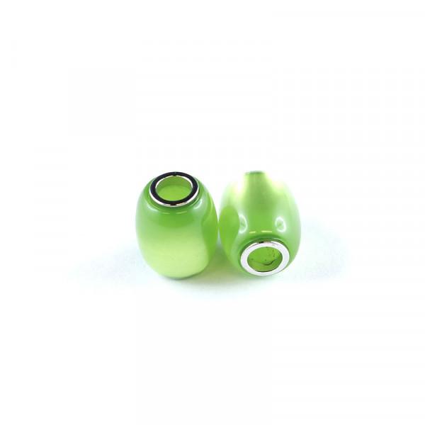 Polaris Großlochperlen, 15x12mm, grün