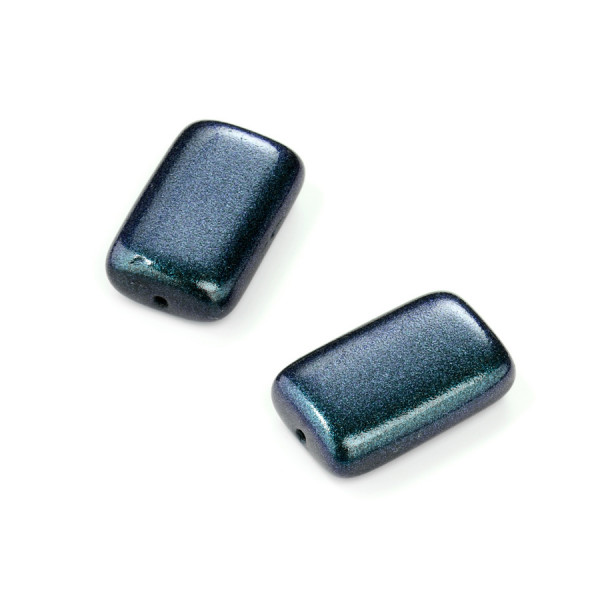 Metallic-Glasperle, Rechteck, 19x12 mm, 4 St, blau