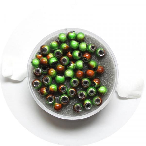 Miracle-Beads Glasperlen, 50 Stck., 4mm, grün-braun