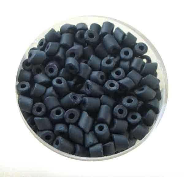 Glasperlen Cremette, matt, 4-6 mm, schwarz