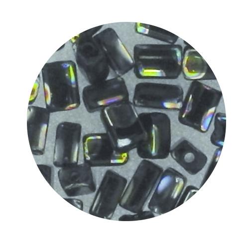 Glasperle, Rechteck, 5 mm, 7gr. Dose, schwarz