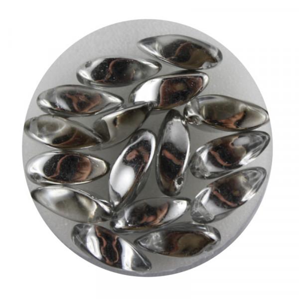 Dagger-Beads, 16 Stück pro Dose, 12x6mm, kristall silber