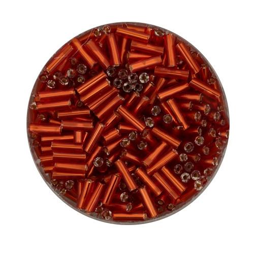 Glasstifte aus China, 17gr. Dose, 6mm,orange silbereinzug
