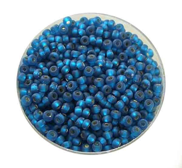 Rocailles, silbereinzug matt, 2,6mm, 17gr. Dose, montanblau