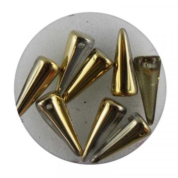 Spike Beads,7x17mm,8 Stück,golfb. halb bedampft