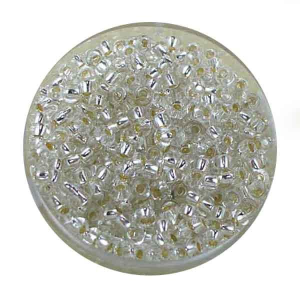 Rocailles, Silbereinzug, 3,1 mm, 17gr. Dose, kristall