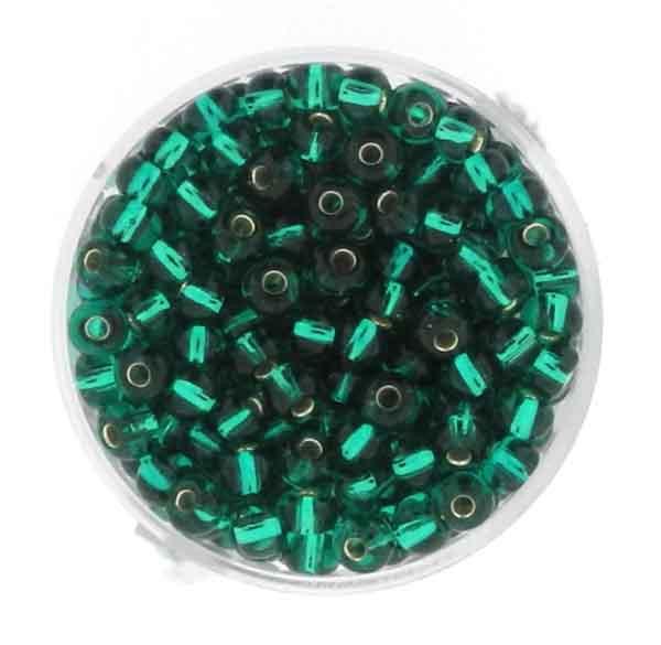 Rocailles, silbereinzug, 4,5mm, 17gr. Dose, dkl.grün
