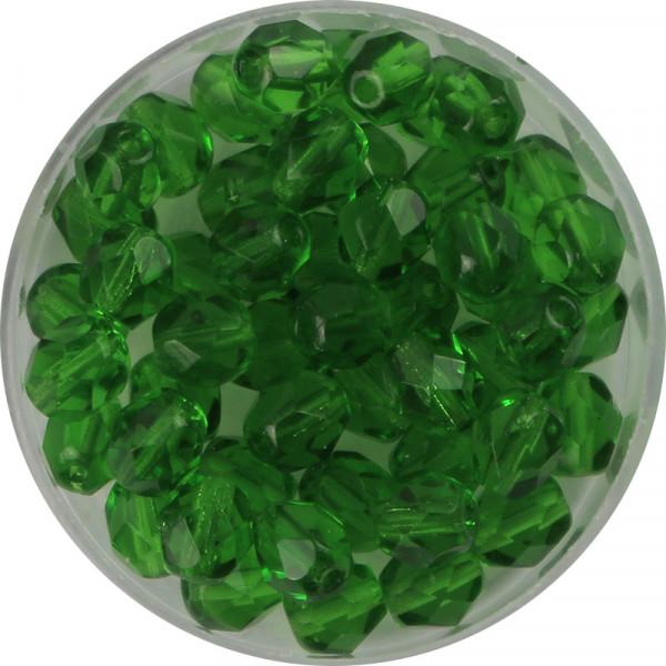 Glasschliffperlen, feuerpoliert, 6 mm, transp. hellgrün