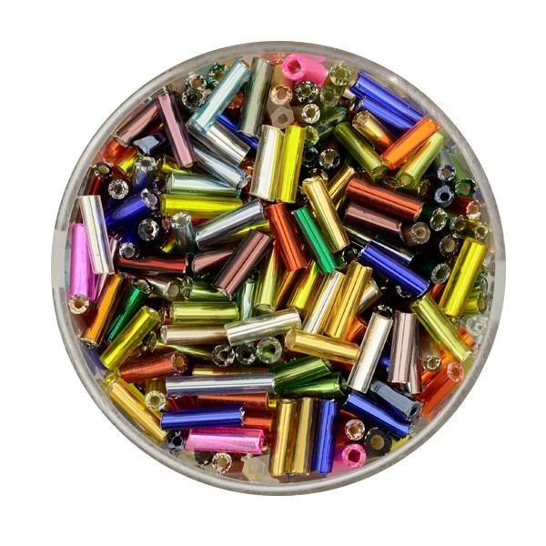 Glasstift, Silbereinzug, 6 mm, 17gr. Dose, mix