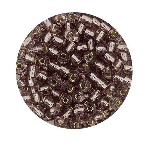 Rocailles aus China, 17gr. Dose, 4mm,lila silbereinzug