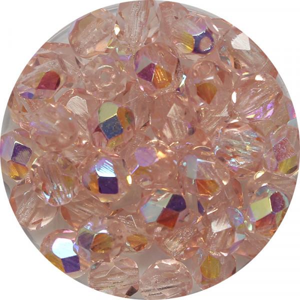Glasschliffperlen, feuerpoliert, 6 mm, h. bedampft, rosalin AB