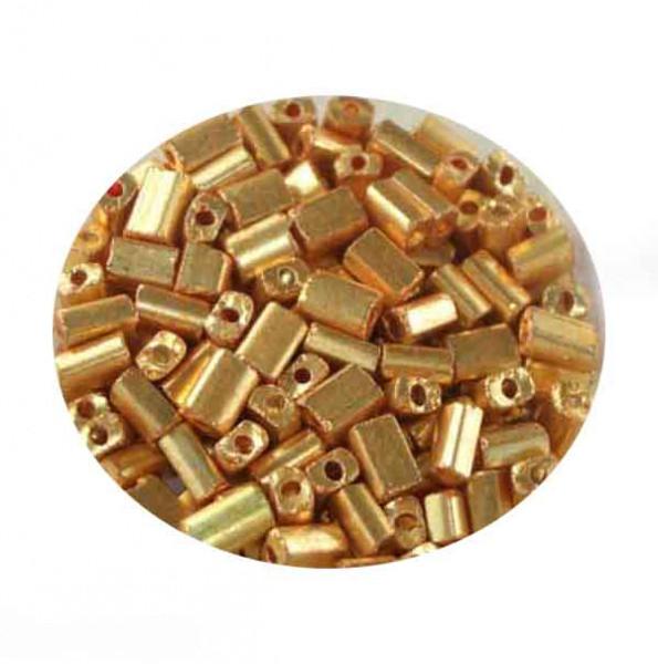 Glasrechteck, metallic, 5x3,5 mm, 17gr. Dose, goldfb.