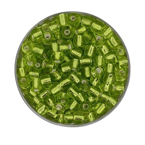 Rocailles aus China, 17gr. Dose, 4mm, hellgrün silbereinzug