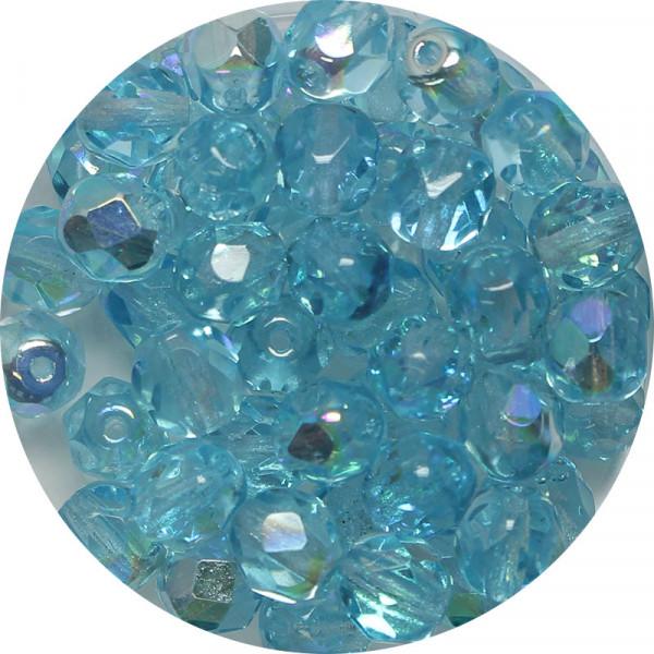 Glasschliffperlen, feuerpoliert, 6 mm, h. bedampft, aqua AB