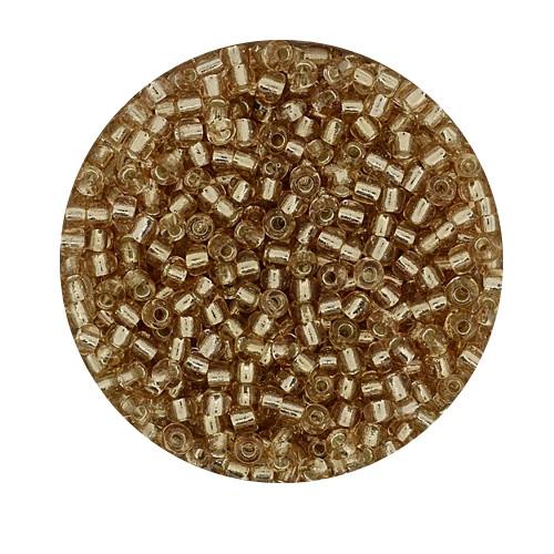 Rocailles aus China, 17gr. Dose, 2,6mm,hellrosa silbereinzug