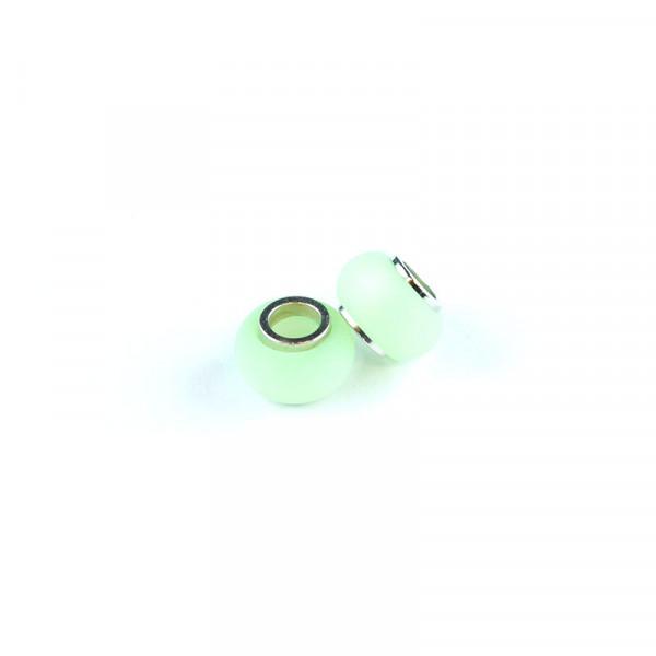 Polaris Großlochperlen matt, 8x12mm, chrysolite-grün
