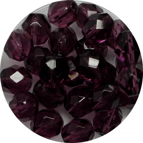 Glasschliffperlen, feuerpoliert, 8 mm, transp. dark amethyst