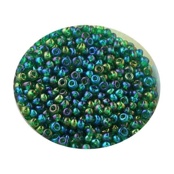 Rocailles, Rainbow AB-Effekt, 2,6mm, 17gr. Dose, dkl.grün