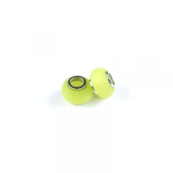 Polaris Großlochperlen matt, 8x12mm, kiwi-grün