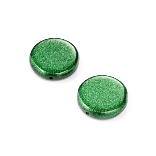 Metallic-Glasperle, Scheibe, 17 mm, 4 St, grün