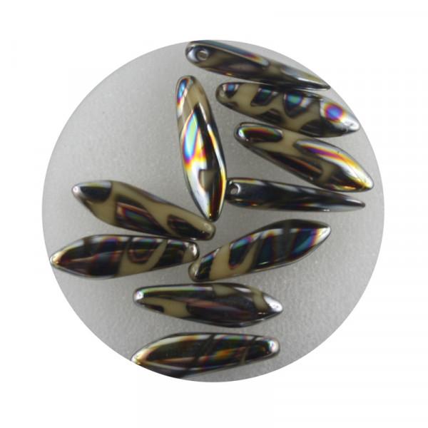 Dagger-Beads, 10 Stück pro Dose, 16x5mm,beige bunt