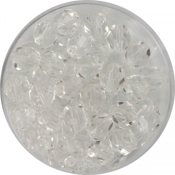 Glasschliffperlen, feuerpoliert, 6 mm, transp. kristall