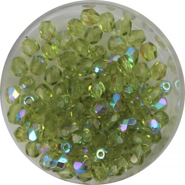 Glasschliffperlen, feuerpoliert, 4 mm, bedampft olivin AB