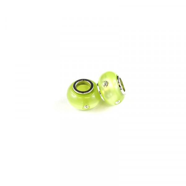 Polaris Großlochperlen Strass glänzend, 8x12mm, kiwi-grün