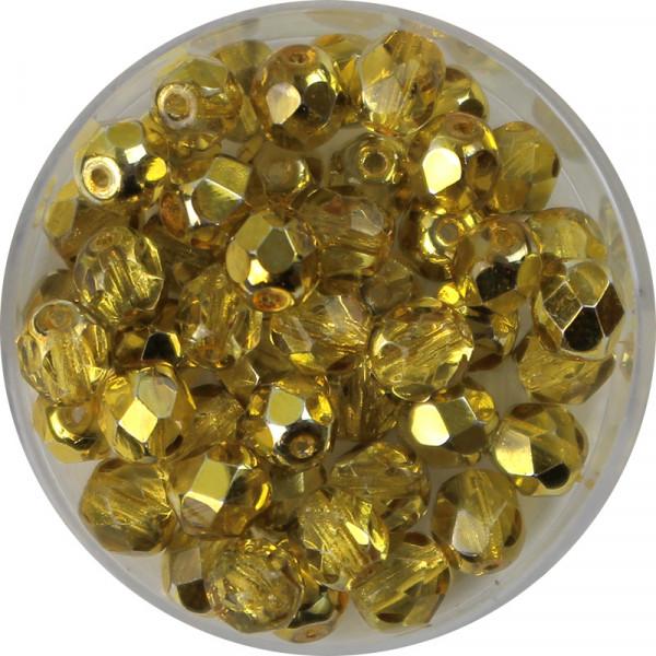 Glasschliffperlen, feuerpoliert, 6 mm, h. bedampft, jonquill