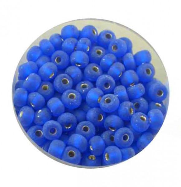 Rocailles, silbereinzug matt, 4,5mm, 17gr. Dose, blau