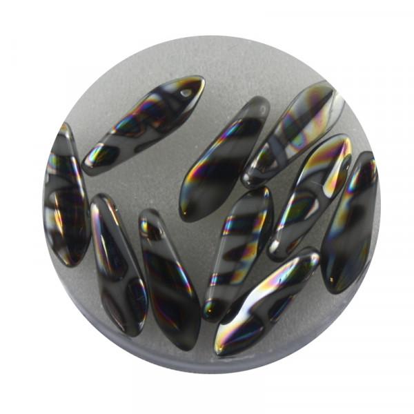 Dagger-Beads, 10 Stück pro Dose, 16x5mm,grau bunt