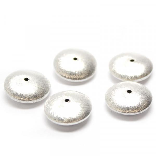 Wisilva Perlen, Linsen, versilbert, gebürstet, 18x7 mm, 5 Stück