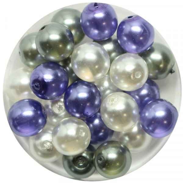 Crystal Pearl Renaissance, 8mm, 25 Stück, weiß-grau-violet