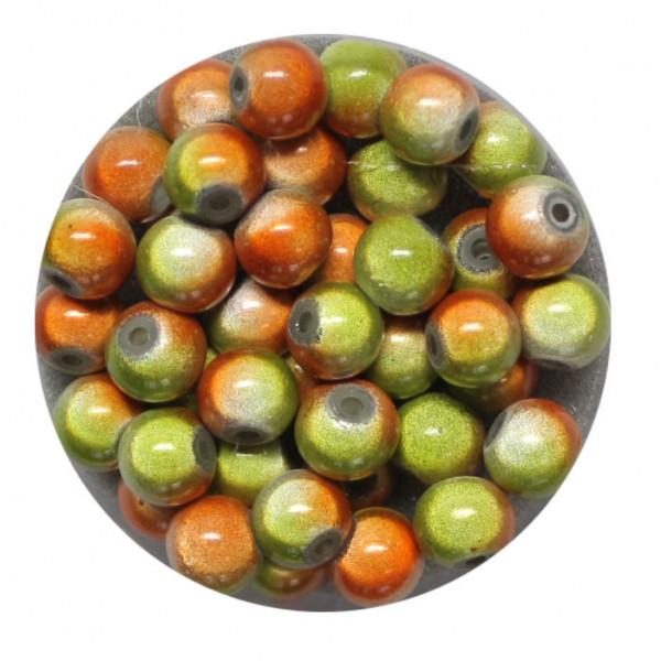 Miracle-Beads Glasperlen, 40 Stck., 6mm, orange-grün