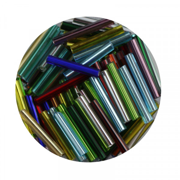 Glasstift, Silbereinzug, 15 mm, 17gr. Dose, mix