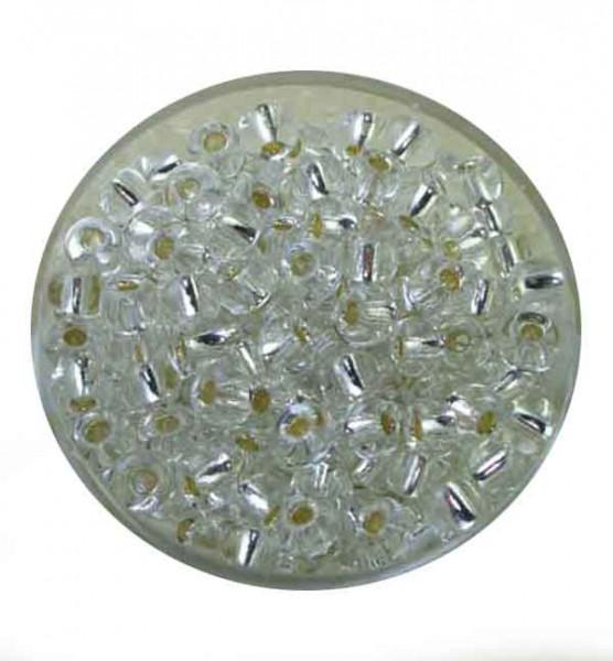 Rocailles, Silbereinzug, 4,5 mm, 17gr. Dose, kristall