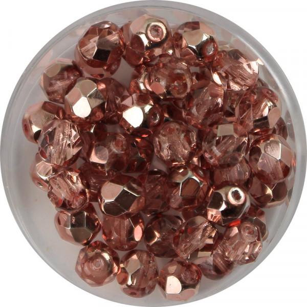 Glasschliffperlen, feuerpoliert, 6 mm, h. bedampft, kupfer