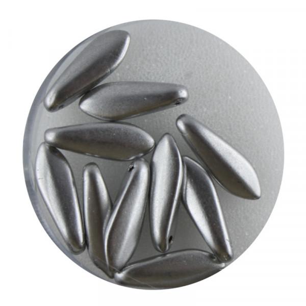 Dagger-Beads, 10 Stück pro Dose, 16x5mm, silberfb. matt