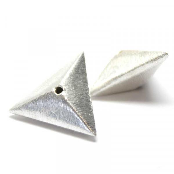Wisilva Perlen, Dreieck, versilbert, gebürstet, 18 mm, 2 Stück